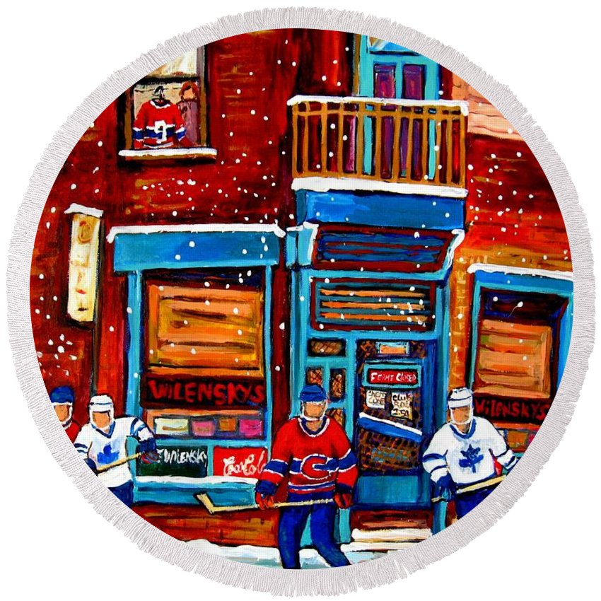 Montreal Round Beach Towel featuring the painting Montreal Wilensky Deli By Carole Spandau Montreal Streetscene And Hockey Artist by Carole Spandau