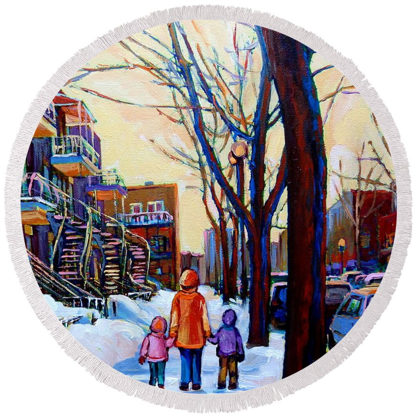 Montreal Round Beach Towel featuring the painting Montreal Winter by Carole Spandau