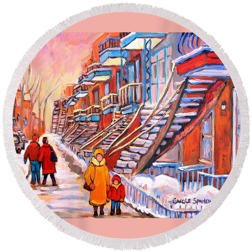 Montreal Round Beach Towel featuring the painting Montreal Winter Walk by Carole Spandau