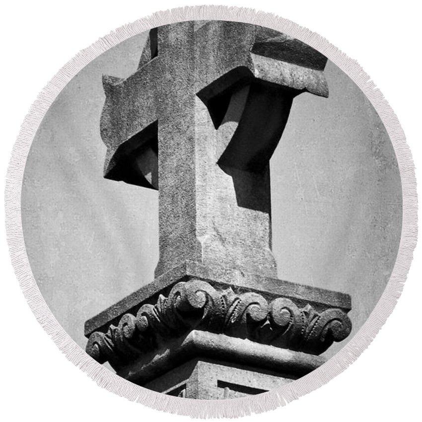 Irish Round Beach Towel featuring the photograph Monument Cross Macroom Ireland by Teresa Mucha