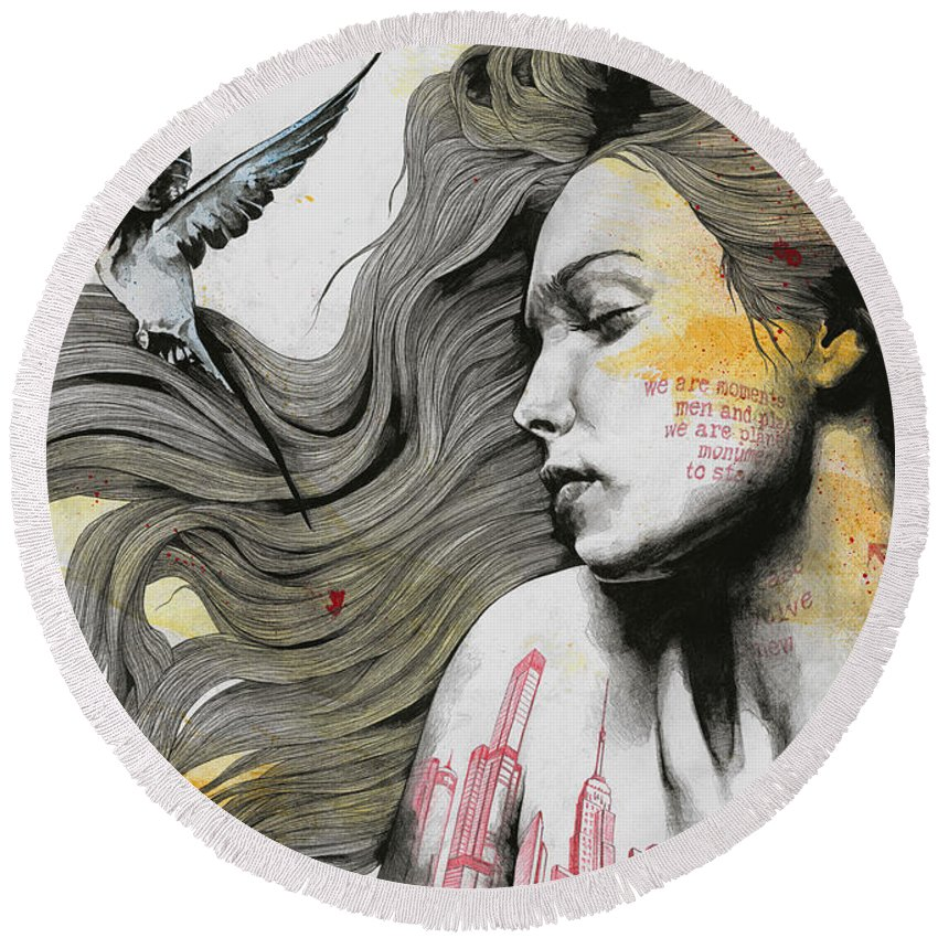 Skyline Round Beach Towel featuring the drawing Monument - Long Hair Girl With Bird And Skyline Tattoo by Marco Paludet