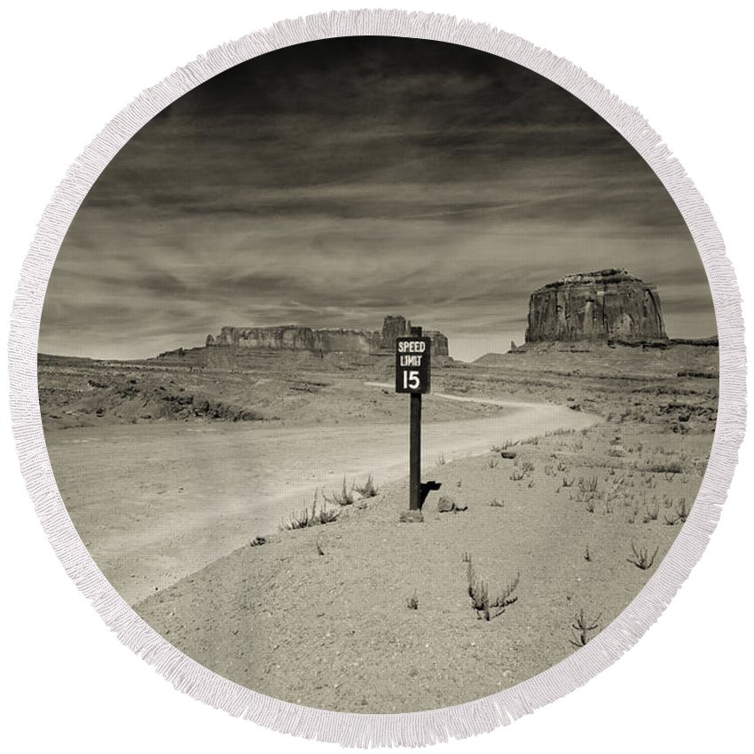 Monument Valley Round Beach Towel featuring the photograph Monument Valley 6 by Avril Christophe