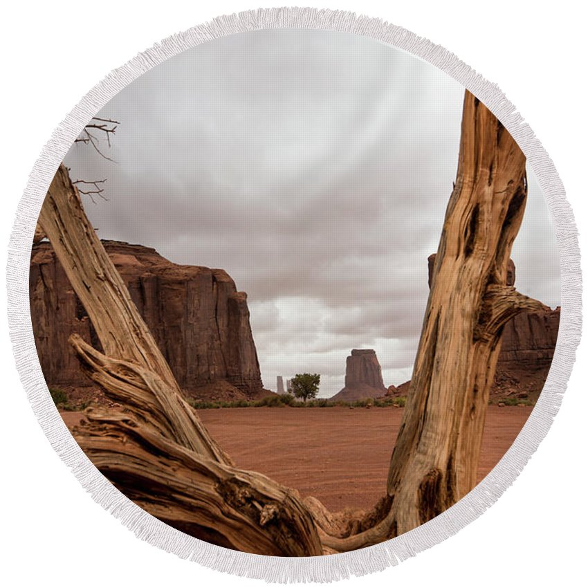 Deadwood Round Beach Towel featuring the photograph Monument Valley deadwood by Roy Nierdieck