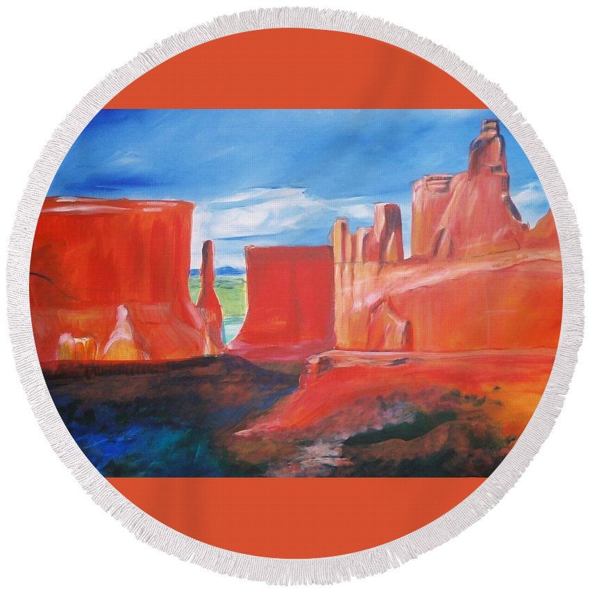 Floral Round Beach Towel featuring the painting Monument Valley by Eric Schiabor