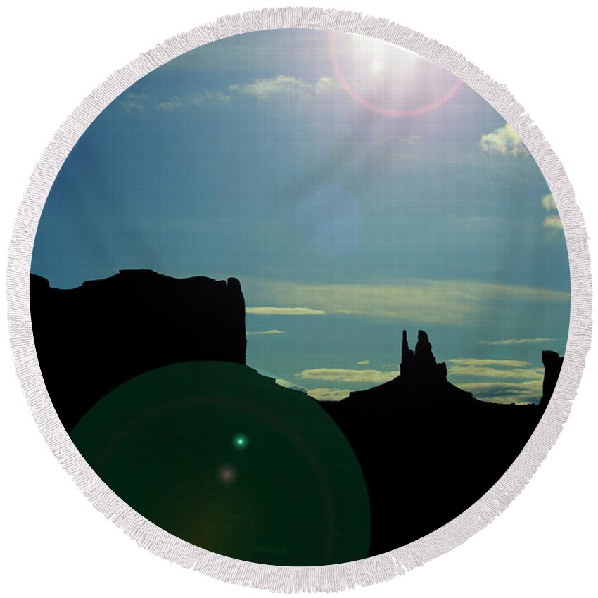 Monument Valley Round Beach Towel featuring the photograph Monument Valley silhouette by Roy Nierdieck