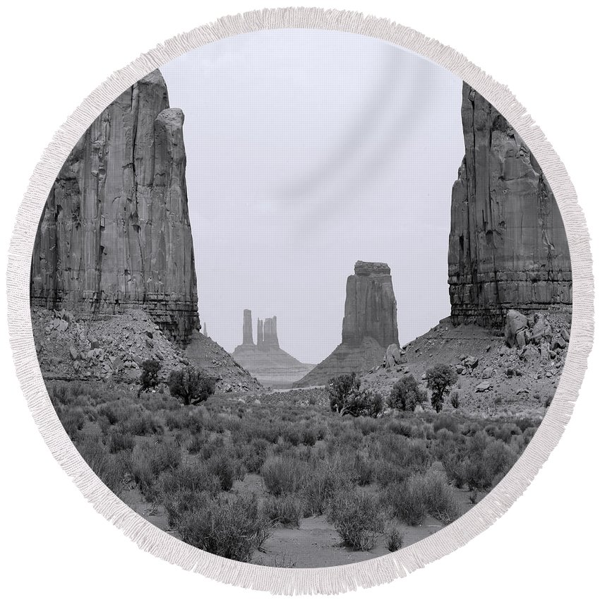 Arizona; Utah: United States; Usa; Southwest; Clouds; America; American; Beauty; Black; Deep; Desert; Environment; Erosion; Formation; Geology; Grand; Round Beach Towel featuring the photograph Monumentvalley 34 by Ingrid Smith-Johnsen