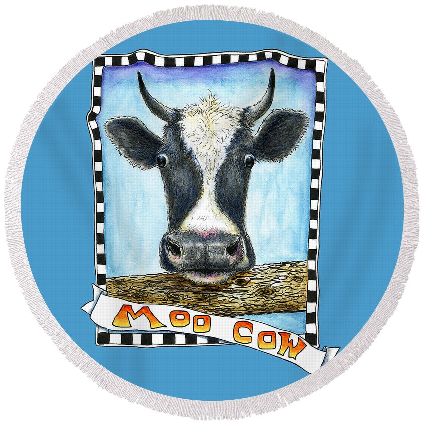 Cow Round Beach Towel featuring the drawing Moo Cow In Blue by Retta Stephenson