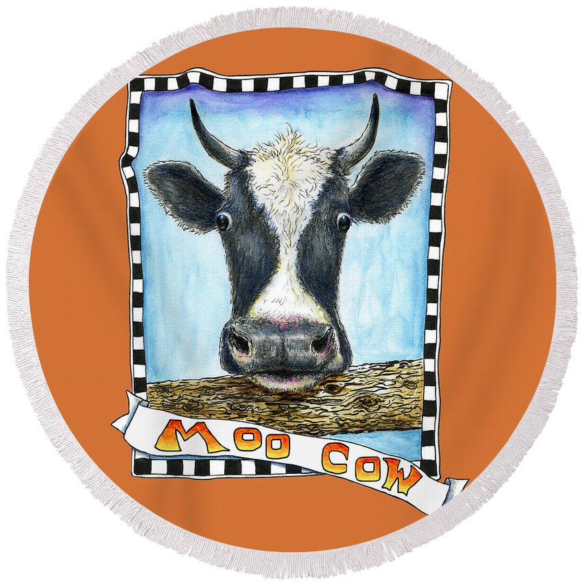 Cow Round Beach Towel featuring the painting Moo Cow In Orange by Retta Stephenson