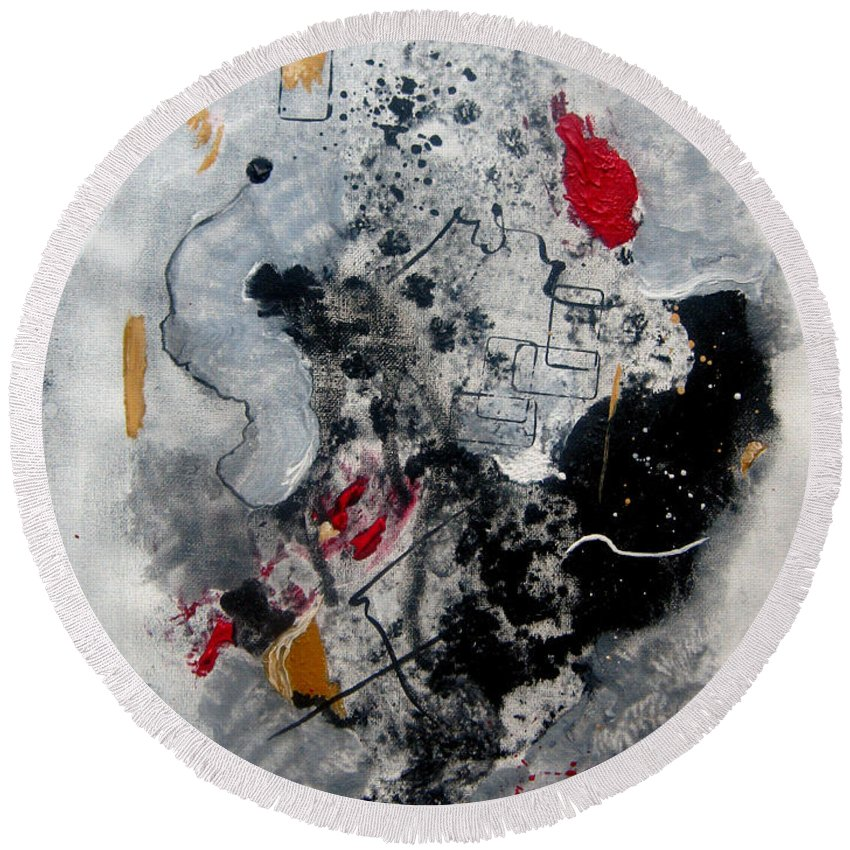 Abstract Round Beach Towel featuring the painting Moods II by Ruth Palmer