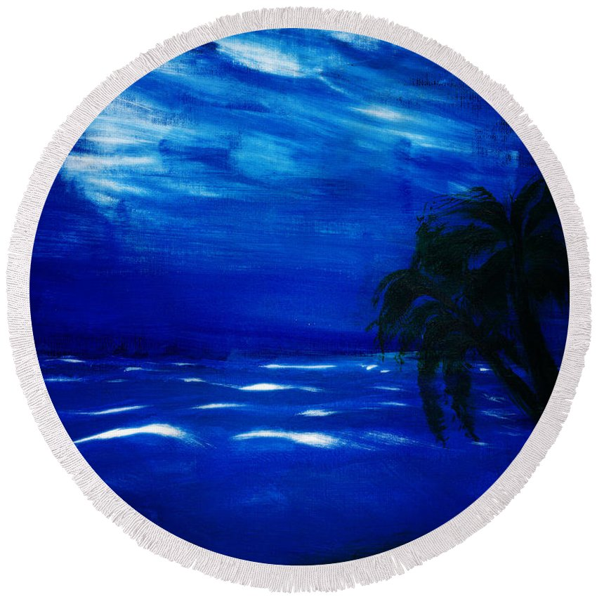 Ocean Round Beach Towel featuring the painting Moods Of The Sea Romantic by Kate Hopson