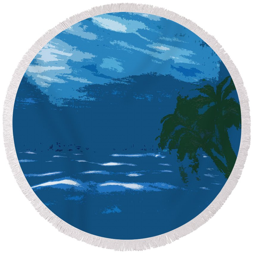 Ocean Round Beach Towel featuring the painting Moods Of The Sea Surreal by Kate Hopson