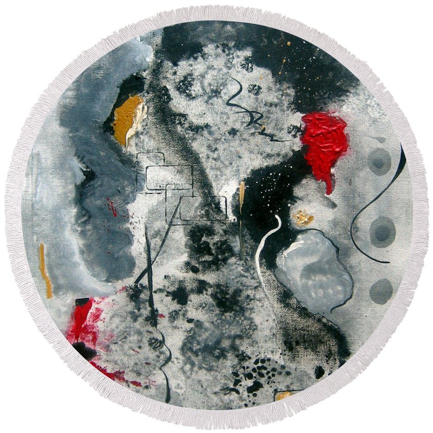 Abstract Round Beach Towel featuring the painting Moods by Ruth Palmer