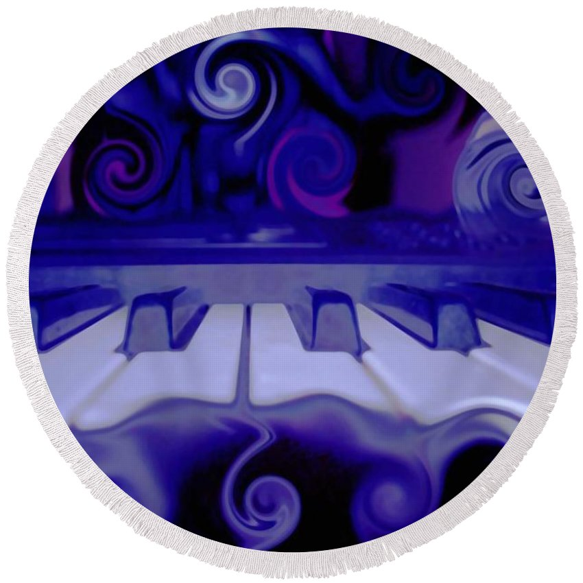 Music Round Beach Towel featuring the photograph Moody Blues by Linda Sannuti