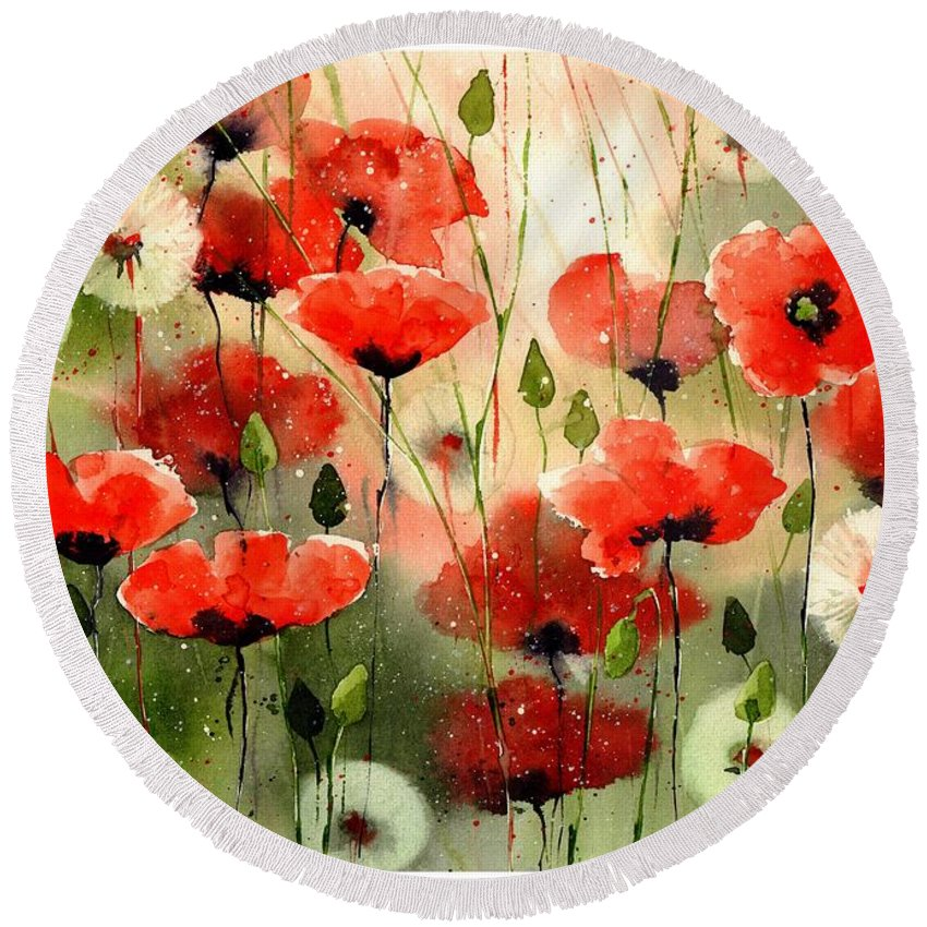 Red Round Beach Towel featuring the painting Moody Poppies In The Afternoon by Suzann Sines
