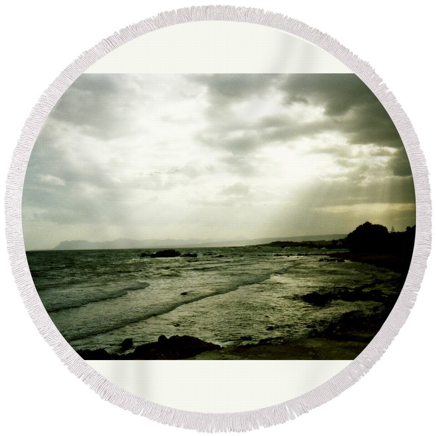 Moody Sky Round Beach Towel featuring the photograph Moody Sky by Catt Kyriacou