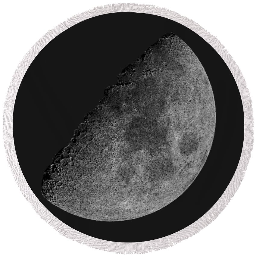 Acrylic Prints Round Beach Towel featuring the photograph Moon 61 Percent by Mark Myhaver