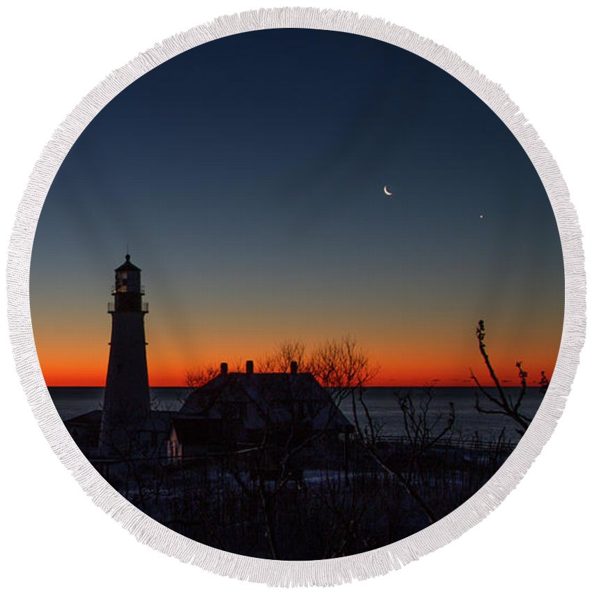 The Half Hour Or So Before The Sun Comes Up Can Be So Magical! The Crescent Moon Is Visible In The Deep Blue Sky With The Blaze Orange Announcing The Rising Sun. Round Beach Towel featuring the photograph Moon And Venus - Headlight Sunrise by Darryl Hendricks