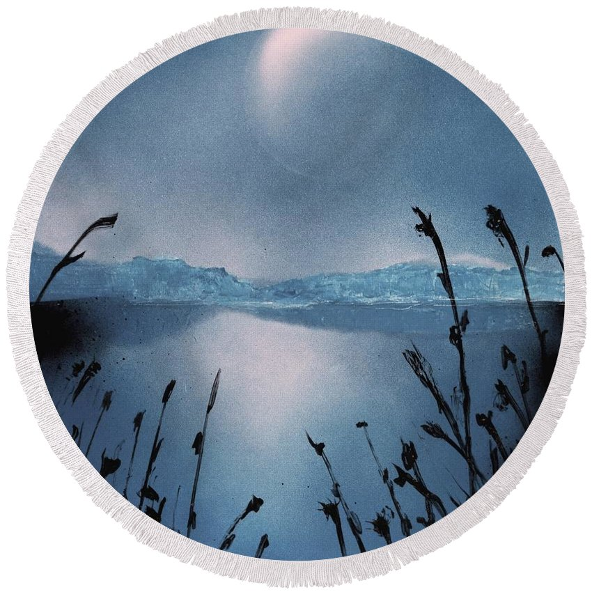 Fantasy Round Beach Towel featuring the painting Moon Fog by Nandor Molnar