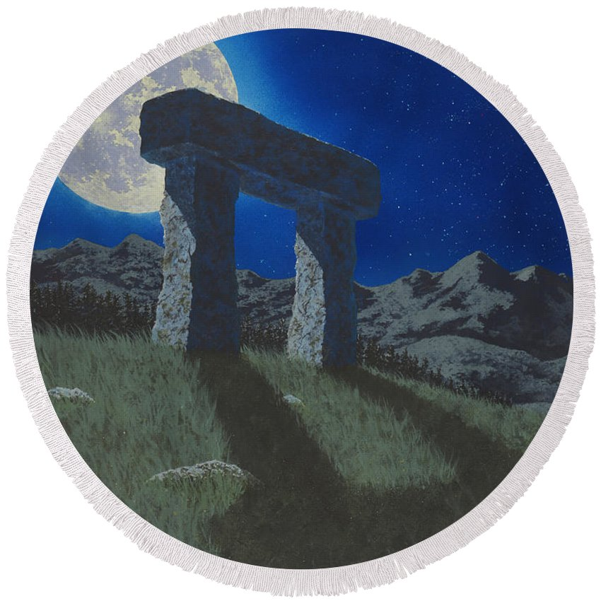 Moon Round Beach Towel featuring the painting Moon Gate by Martin Bellmann