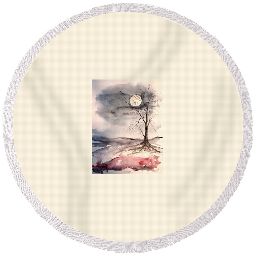 Moon Round Beach Towel featuring the painting Moon Light by Derek Mccrea