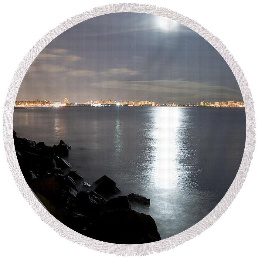 America Round Beach Towel featuring the photograph Moon Light by Svetlana Sewell