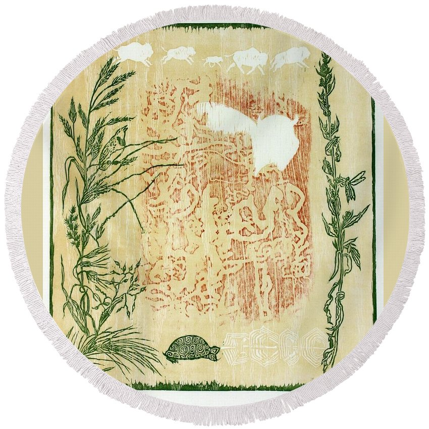 Nature Round Beach Towel featuring the drawing Moon Of Fatness by Dawn Senior-Trask