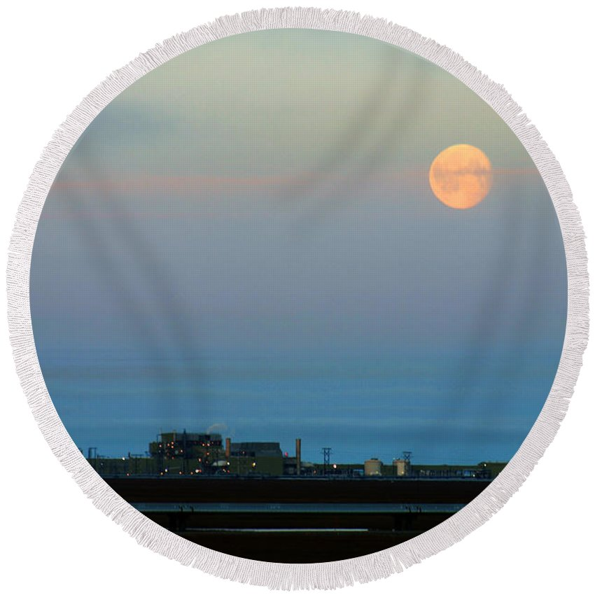 Landscape Round Beach Towel featuring the photograph Moon Over Flow Station 1 by Anthony Jones