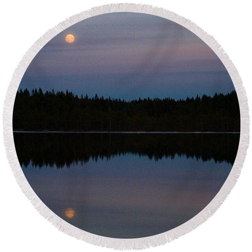 Lehtokukka Round Beach Towel featuring the photograph Moon Over Kirkas-soljanen by Jouko Lehto