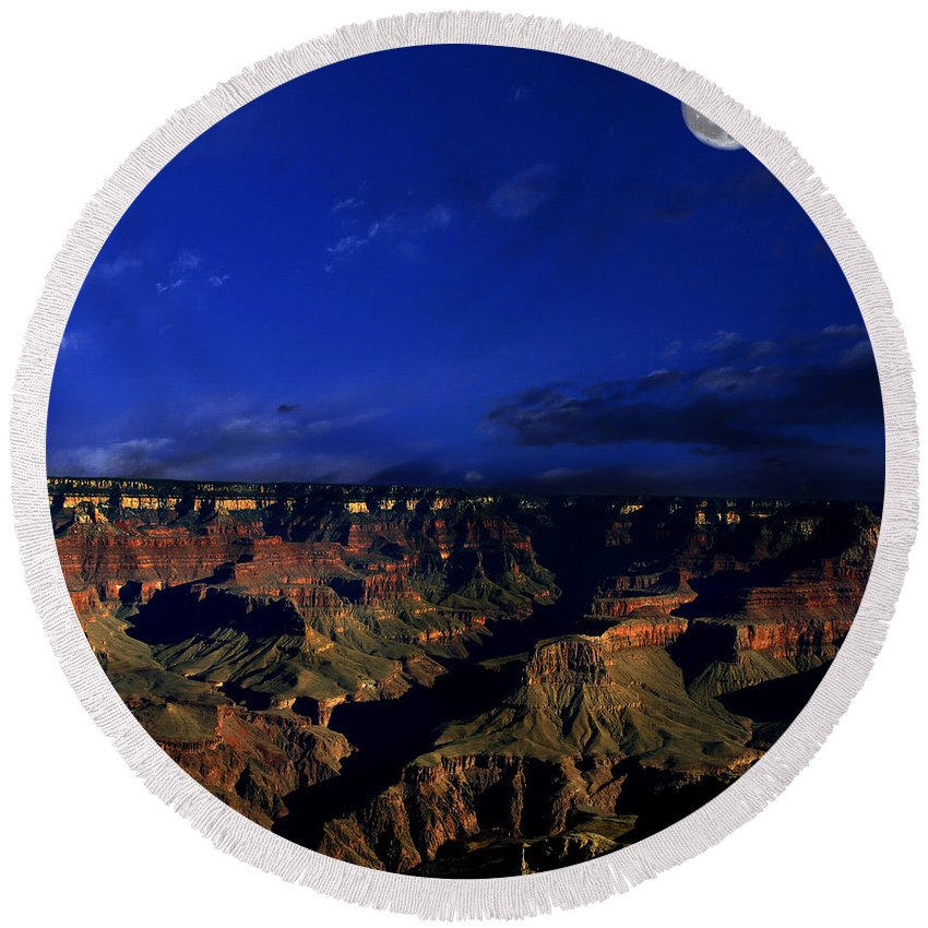 Grand Canyon Round Beach Towel featuring the photograph Moon Over The Canyon by Anthony Jones