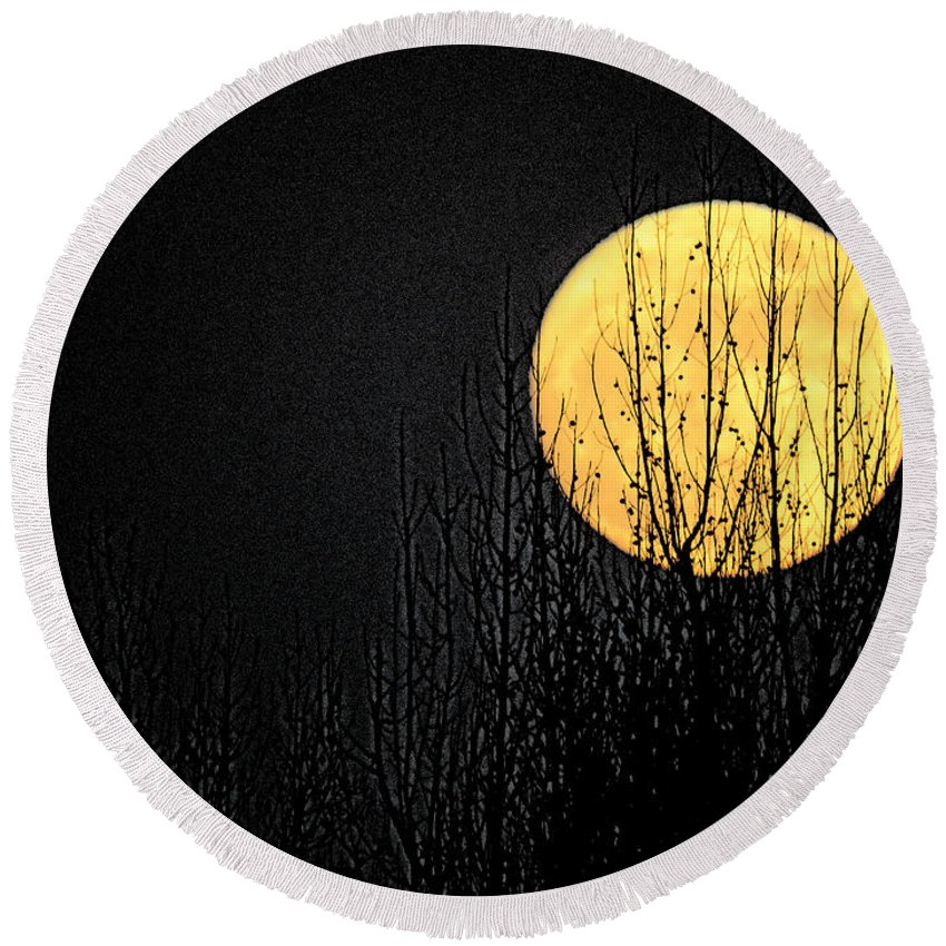 Moon Over The Trees Photo Art Craig Walters Artistic Woods Sky Landscape Tree Photograph Photographic Skies Night A An Artist Artistic Round Beach Towel featuring the digital art Moon Over The Trees by Craig Walters