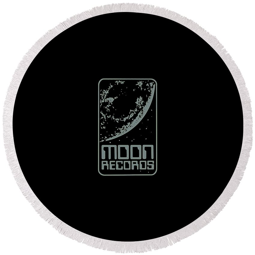 Moon Round Beach Towel featuring the digital art Moon Records by Poetri Kempit