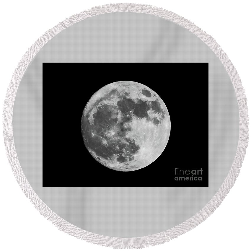 Moon Round Beach Towel featuring the photograph Moon by Rich Young