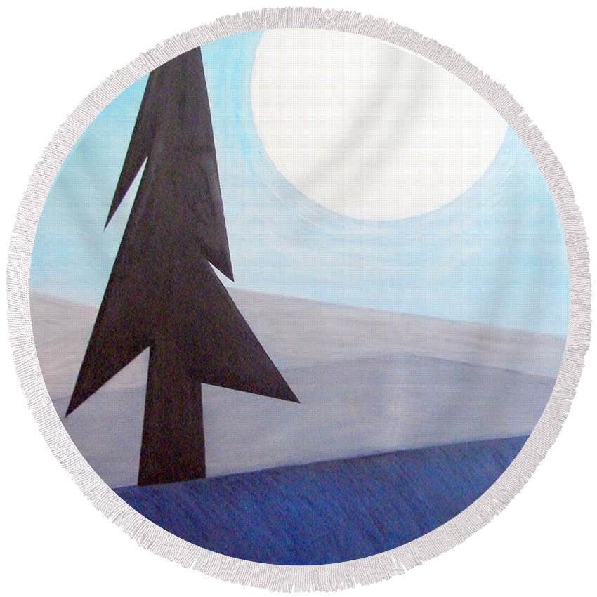 Impressionist Painting Round Beach Towel featuring the painting Moon Rings by J R Seymour