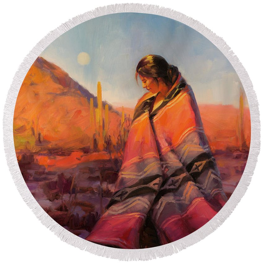 Southwest Round Beach Towel featuring the painting Moon Rising by Steve Henderson