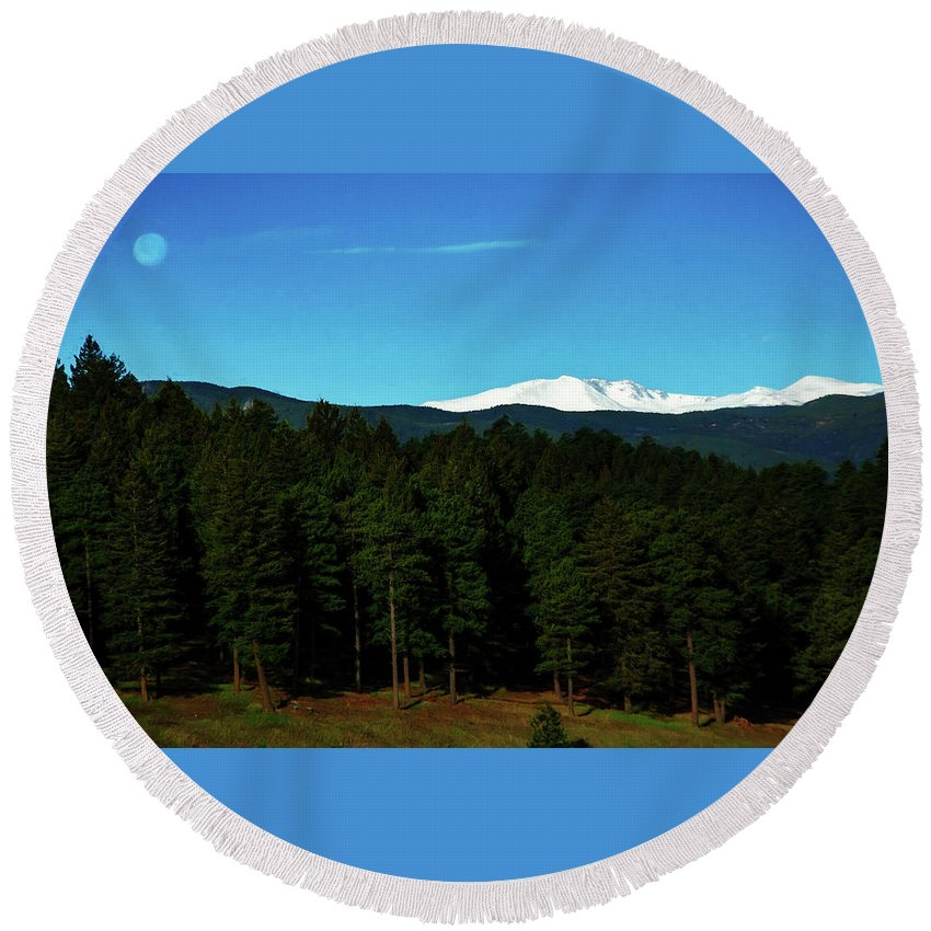 Painting Round Beach Towel featuring the photograph Moon Setting Into The Rocky Mountains by Edward Moorhead