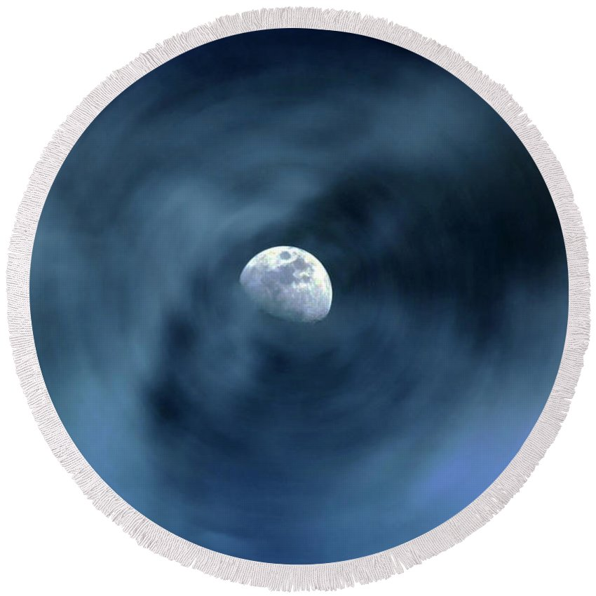 Moon Round Beach Towel featuring the digital art Moon Swirl by David Stasiak
