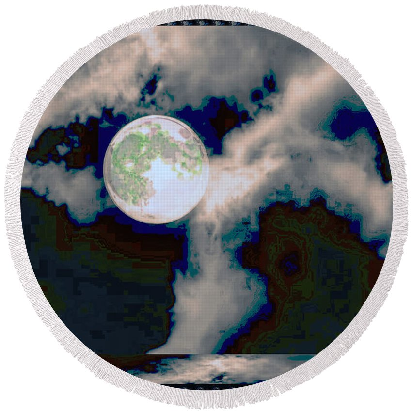 Moon Round Beach Towel featuring the mixed media Moon Walk By The Clouds by Navin Joshi