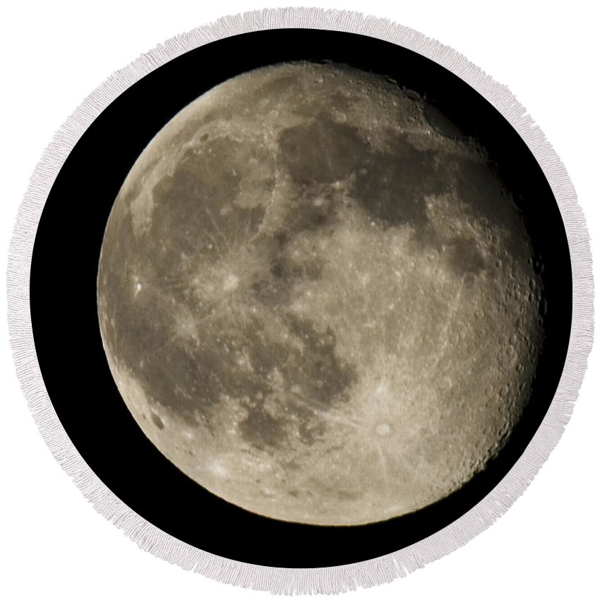 Round Beach Towel featuring the photograph Moon3 by Brian Jordan