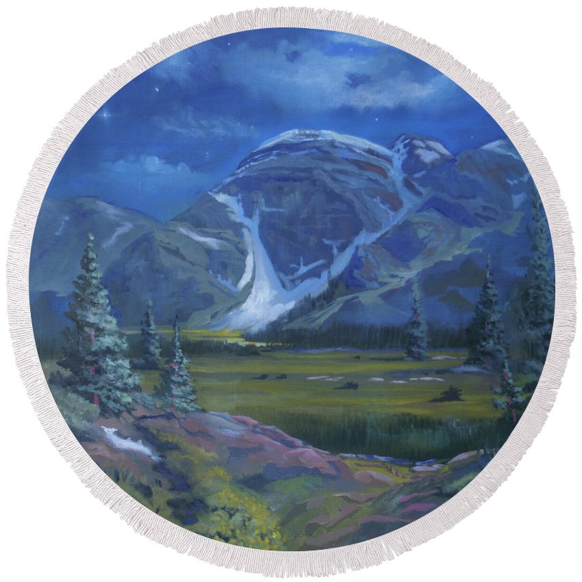 Rocky Mountains Round Beach Towel featuring the painting Moondance Meadows by Heather Coen