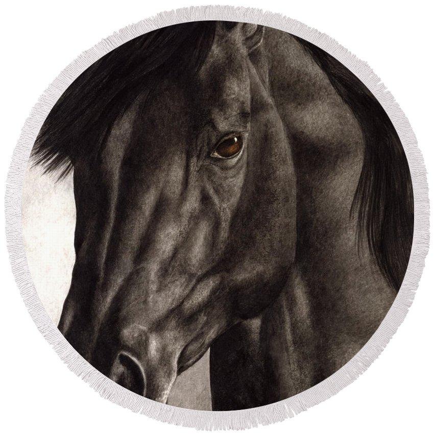 Horse Round Beach Towel featuring the painting Moondark by Pat Erickson