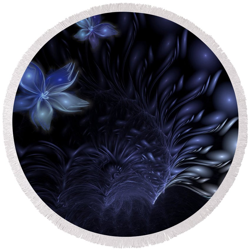 Abstract Round Beach Towel featuring the digital art Moonflower by Casey Kotas