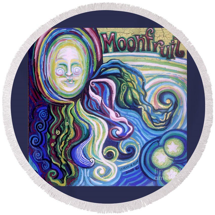 Moon Round Beach Towel featuring the painting Moonfruit by Genevieve Esson