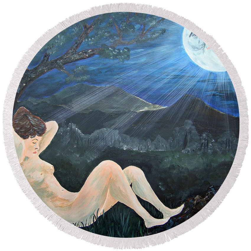 Woman Round Beach Towel featuring the painting Moonlight And Sorrow by Donna Blackhall