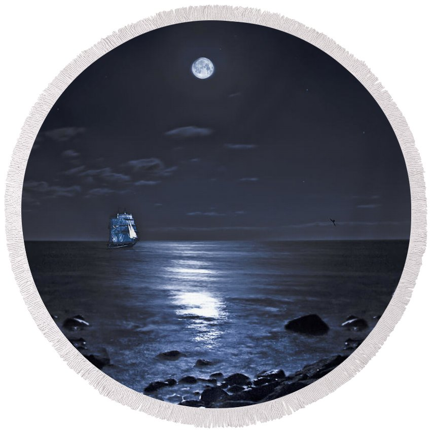 Tall Ship Round Beach Towel featuring the photograph Moonlight Bay by Chris Lord