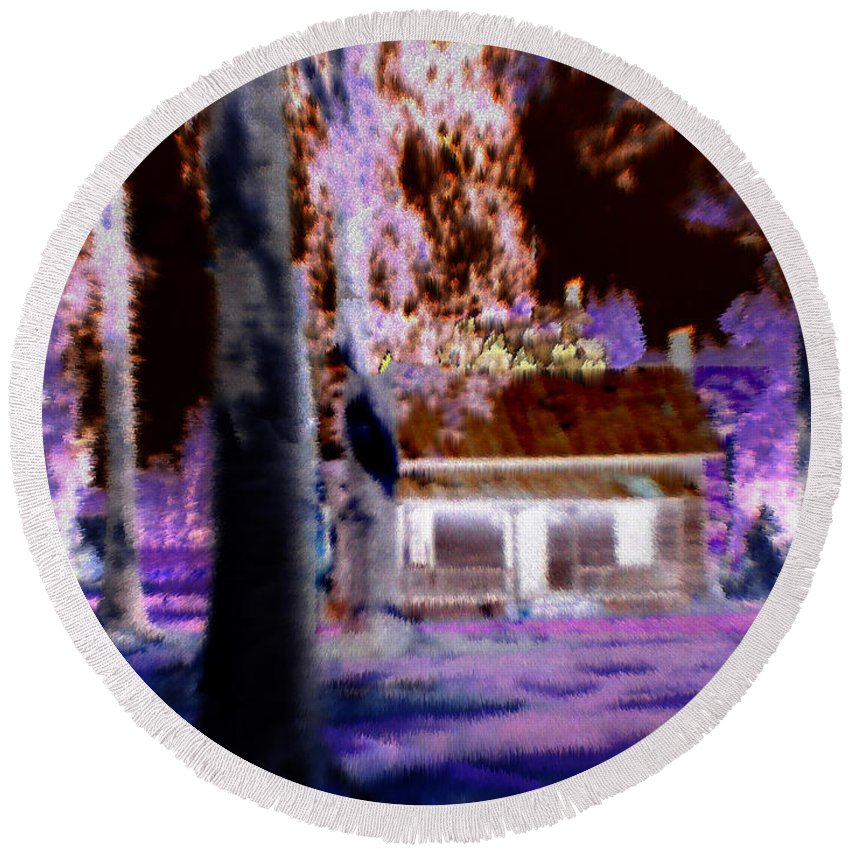 Cabin Round Beach Towel featuring the digital art Moonlight Cabin by Seth Weaver