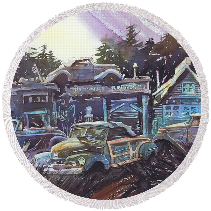 Ford Convertibles Round Beach Towel featuring the painting Moonlight Cabriolets by Ron Morrison