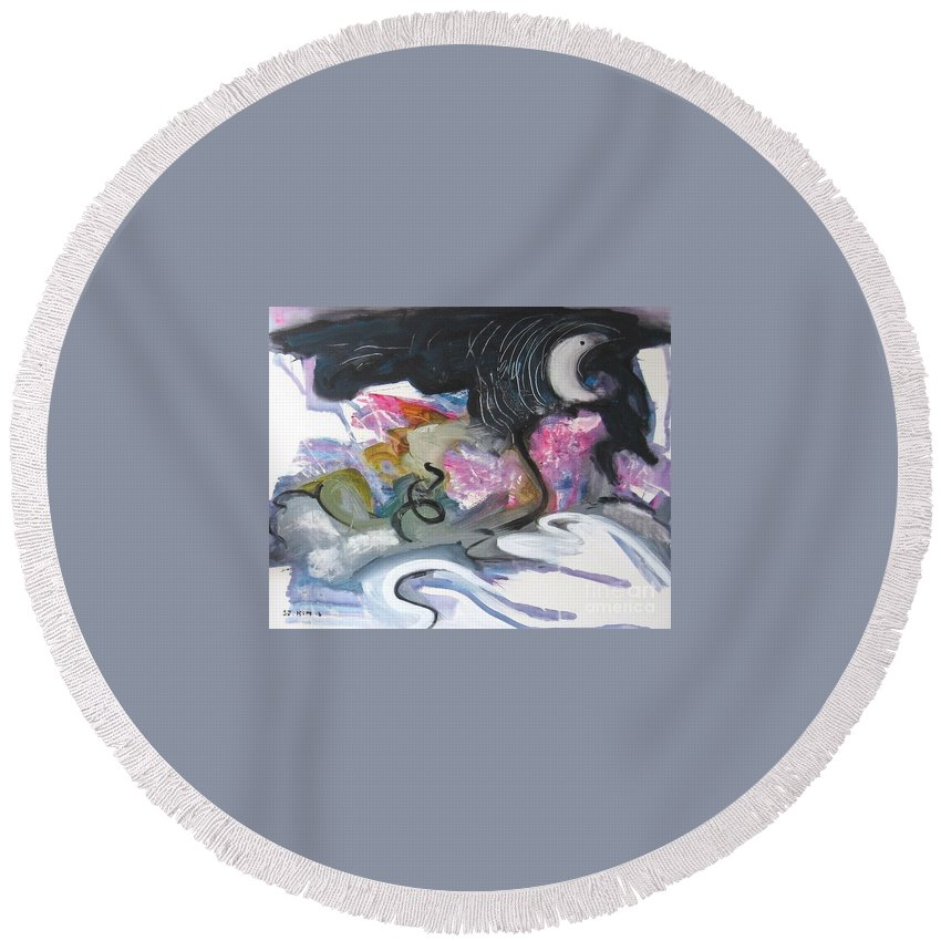 Abstract Paintings Round Beach Towel featuring the painting Moonlight Fever by Seon-Jeong Kim