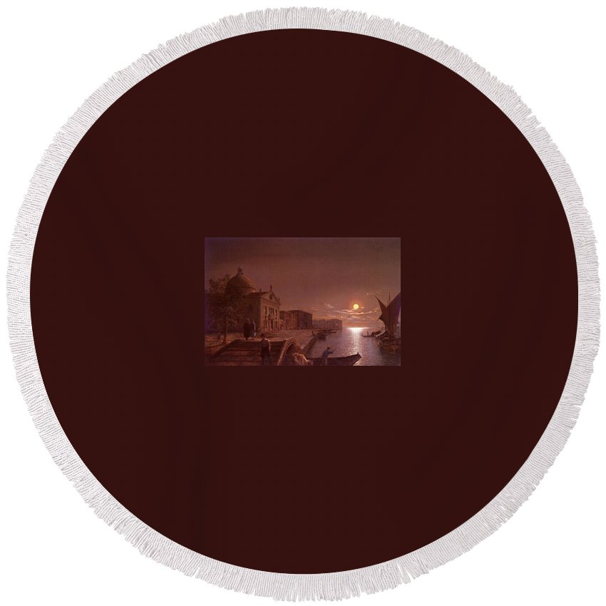 Palace Round Beach Towel featuring the digital art Moonlight In Venice Henry Pether by Eloisa Mannion