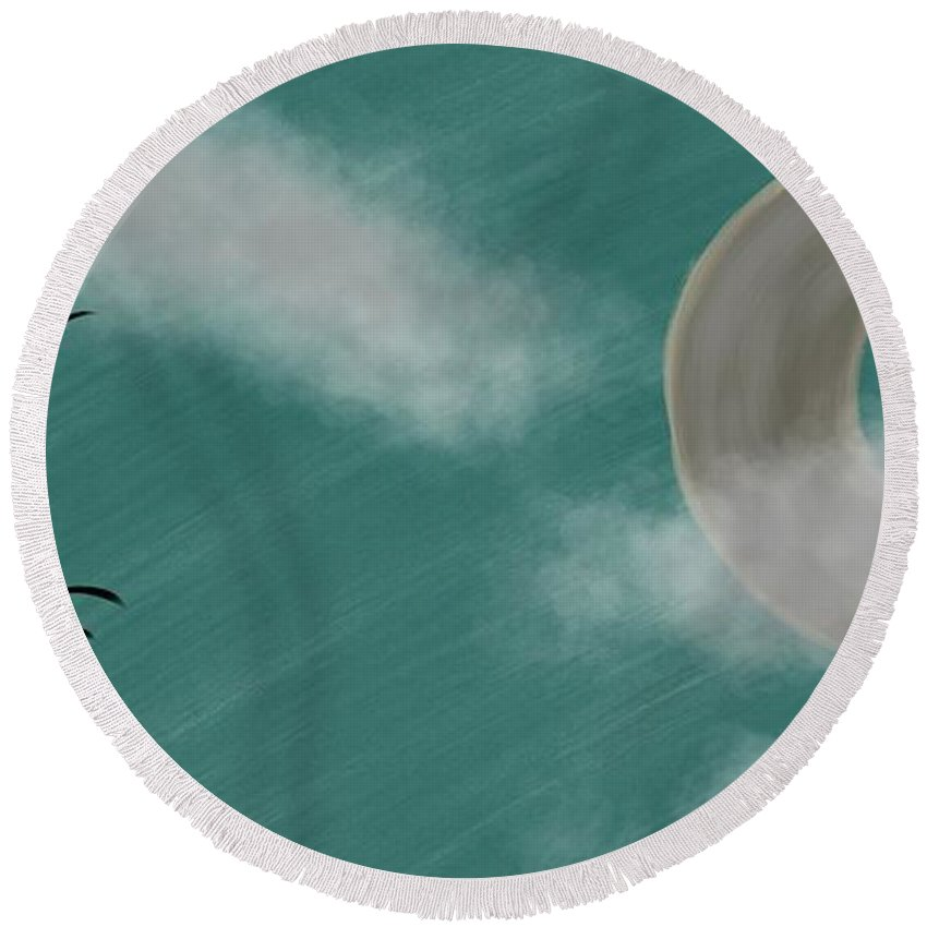 Abstract Tree Round Beach Towel featuring the digital art Moonlight by Morgan Payne