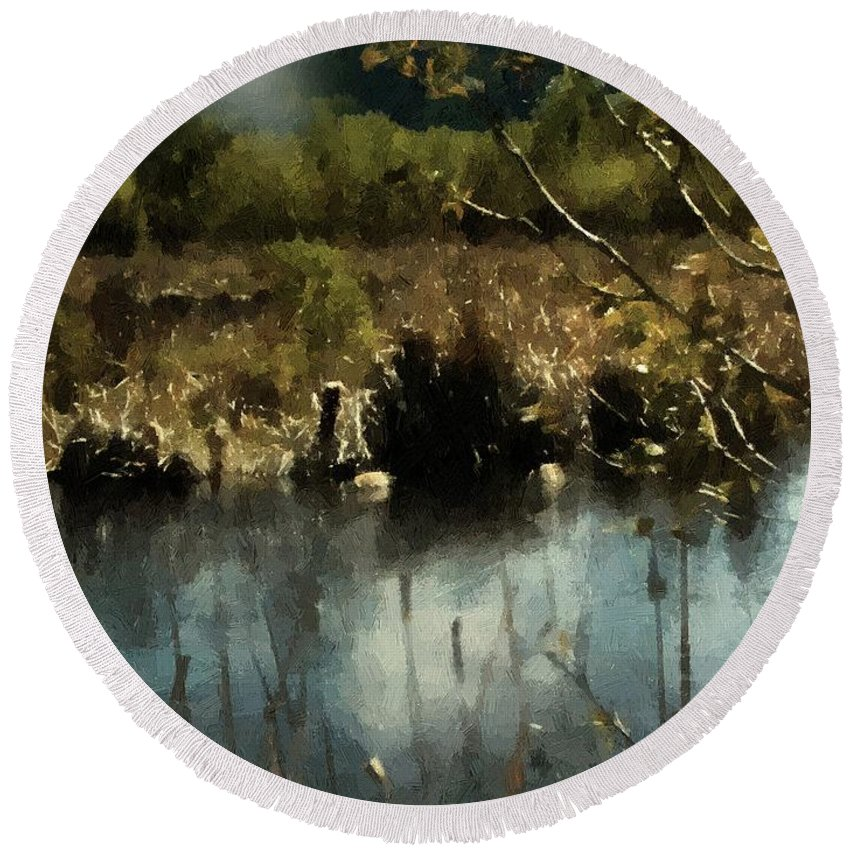 Autumn Round Beach Towel featuring the painting Moonlight On Canadian Lake by RC DeWinter